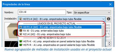 Nueva agrupación de métodos de instalación usados en el proyecto actual