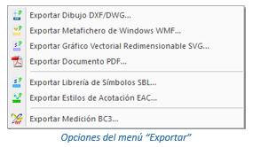 Opciones de exportación