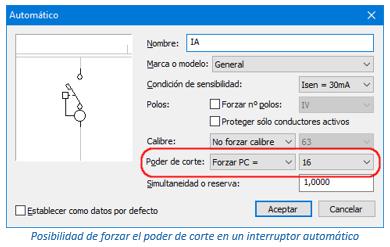 Forzar parámetros en un interruptor automático