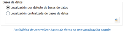 Posibilidad de centralizar bases de datos en una localización común