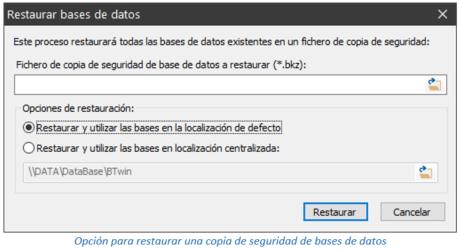 Opción para restaurar una copia de seguridad de bases de datos