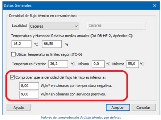 Valores de comprobación de flujo térmico por defecto