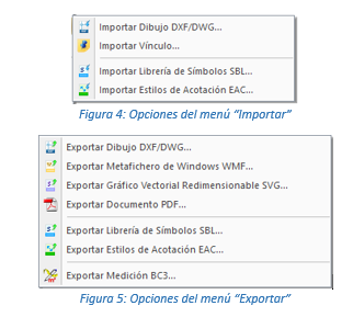 Rediseño de los menús de intercambio de ficheros