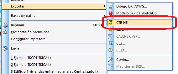 Opción exportar CTE-HE