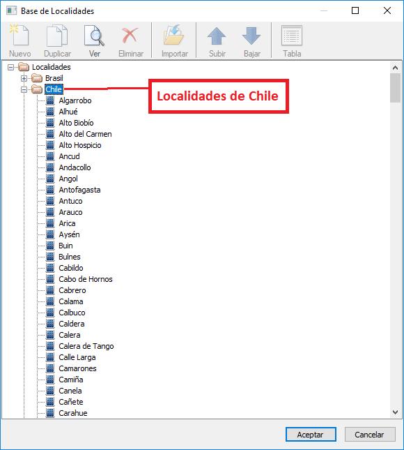 Datos de las localidades de Chile