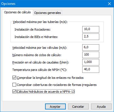 Opciones de cálculo NFPA13