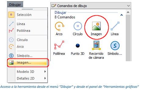 Opciones para insertar imágenes de mapas de bits
