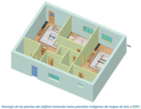Planta edificio con imagen de mapa de bits como plantilla