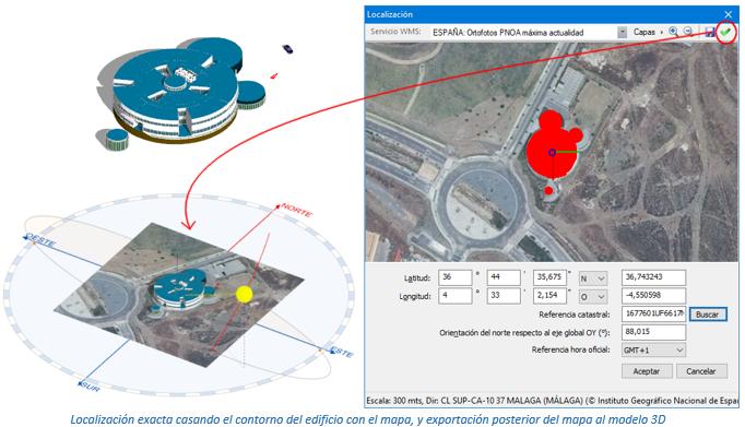 Inserción en el modelo de una foto satélite