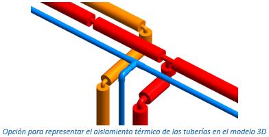 Opción para representar el aislamiento térmico de las tuberías en el modelo 3D
