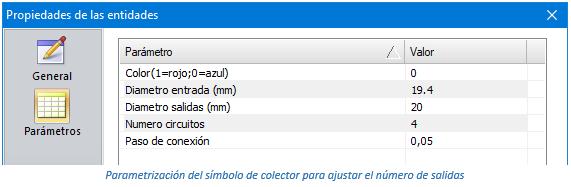 Parametrización del símbolo de colector para ajustar el número de salidas