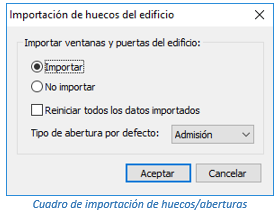 Cuadro de importación de huecos/aberturas