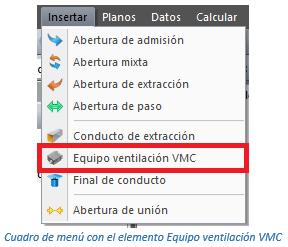 Cuadro de menú con el elemento Equipo ventilación VMC