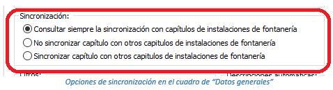 """Opciones de sincronización en el cuadro de """"Datos generales"""""""