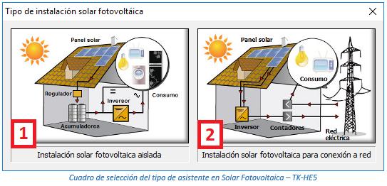 Cuadro de selección del tipo de asistente en Solar Fotovoltaica – TK-HE5