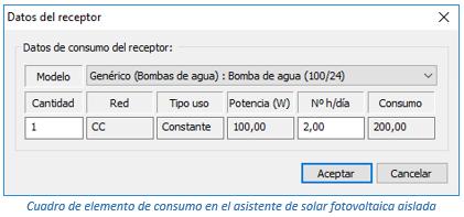 Cuadro de elemento de consumo en el asistente de solar fotovoltaica aislada