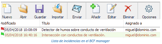 Lista de incidencias en el BCF manager