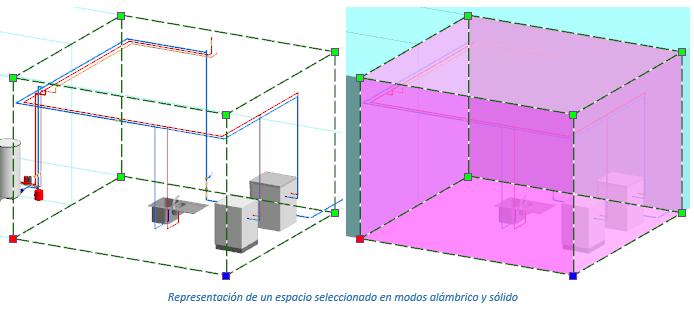 Representación de un espacio seleccionado en modos alámbrico y sólido
