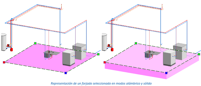 Representación de un forjado seleccionado en modos alámbrico y sólido
