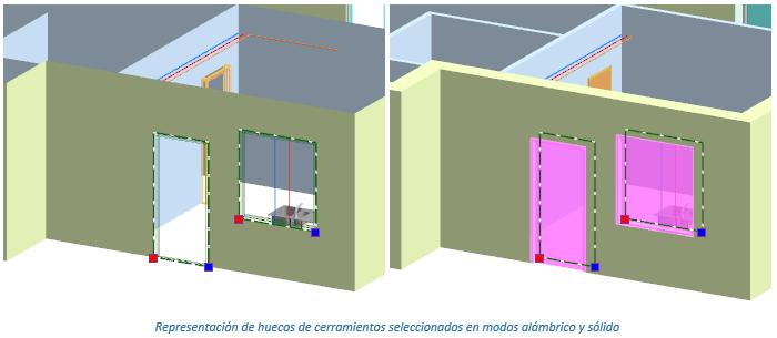 Representación de huecos de cerramientos seleccionados en modos alámbrico y sólido