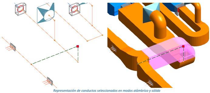 Representación de conductos seleccionados en modos alámbrico y sólido