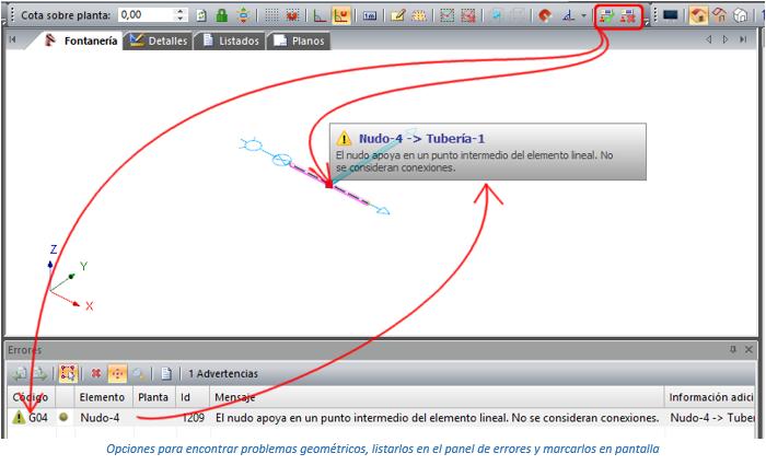 Opciones para encontrar problemas geométricos, listarlos en el panel de errores y marcarlos en pantalla