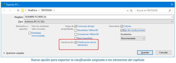 Exportar la clasificación a IFC