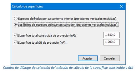 Cuadro de diálogo de selección del método de cálculo de la superficie construida y útil