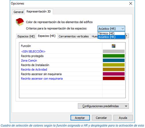Cuadro de selección de colores según la función asignada a HR y desplegable para la activación de esta