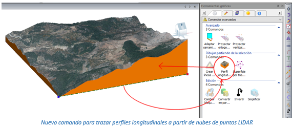 Nuevo comando para trazar perfiles longitudinales a partir de nubes de puntos LIDAR