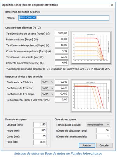 Entrada de datos en Base de datos de Paneles fotovotaicos