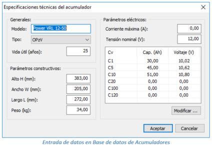Entrada de datos en Base de datos de acumuladores