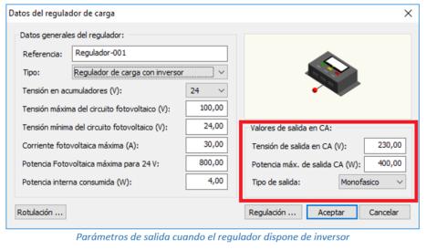 Datos del regulador de carga