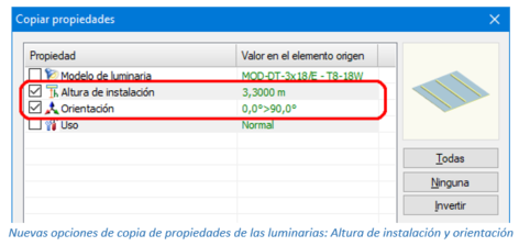 Nuevas opciones de copia de propiedades de las luminarias: Altura de instalación y orientación