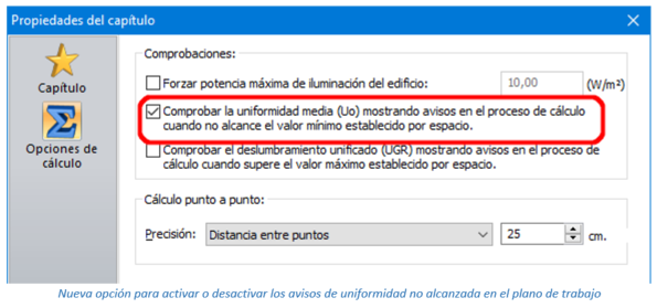 Nueva opción para activar o desactivar los avisos de uniformidad no alcanzada en el plano de trabajo