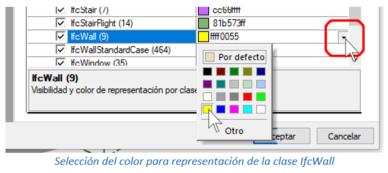 Selección del color para representación de la clase IfcWall