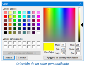 Selección de un color personalizado