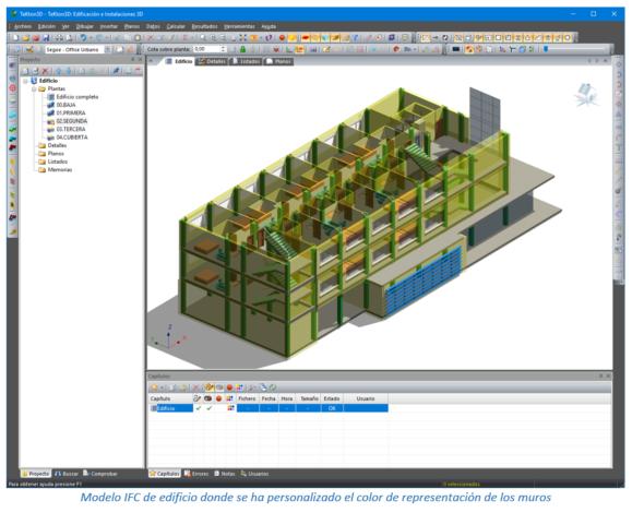 Modelo IFC de edificio donde se ha personalizado el color de representación de los muros