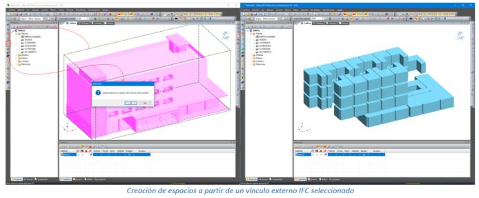 Creación de espacios a partir de un vínculo externo IFC seleccionado