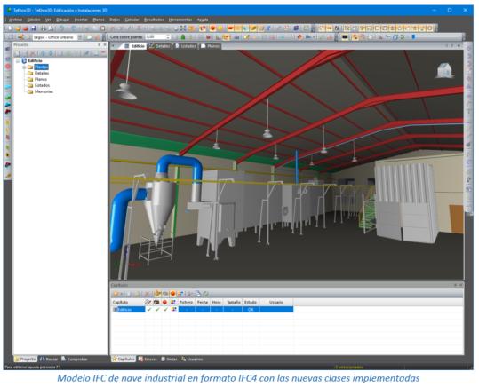 Modelo IFC de nave industrial en formato IFC4 con las nuevas clases implementadas