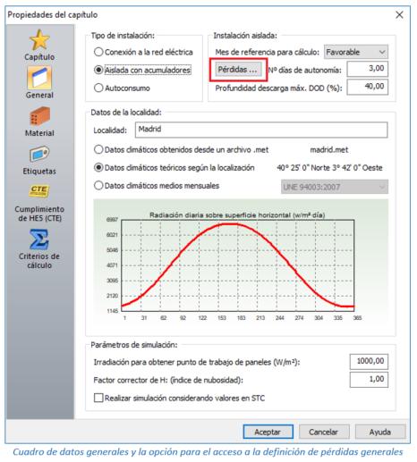 Cuadro de datos generales y la opción para el acceso a la definición de pérdidas generales