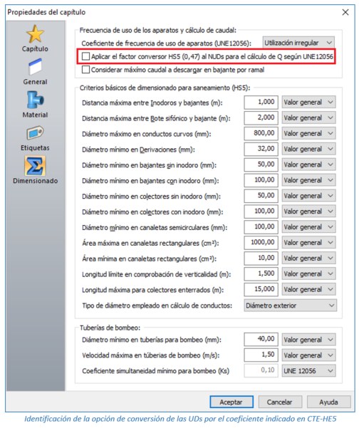 Identificación de la opción de conversión de las UDs por el coeficiente indicado en CTE-HE5