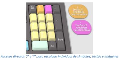 Accesos directos '/' y '*' para escalado individual de símbolos, textos e imágenes