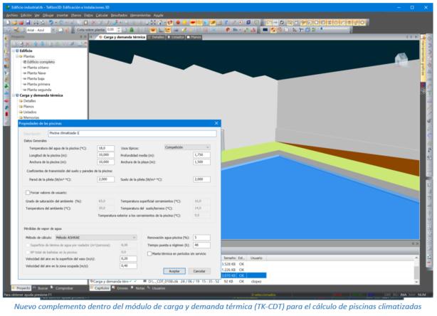 Nuevo complemento dentro del módulo de carga y demanda térmica (TK-CDT) para el cálculo de piscinas climatizadas