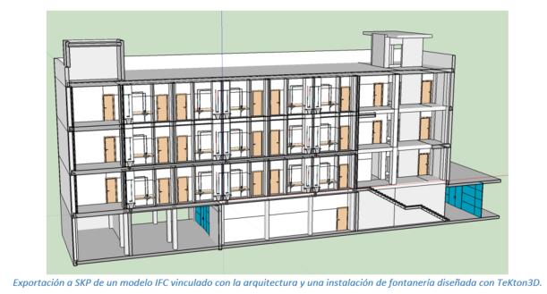 Exportación a SKP de un modelo IFC vinculado con la arquitectura y una instalación de fontanería diseñada con TeKton3D.