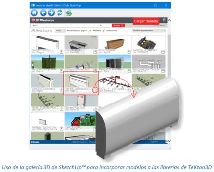 Uso de la galería 3D de SketchUp™ para incorporar modelos a las librerías de TeKton3D
