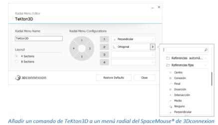 Añadir un comando de TeKton3D a un menú radial del SpaceMouse® de 3Dconnexion