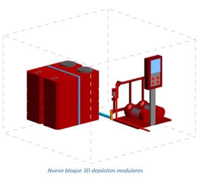 Nuevo bloque 3D depósitos modulares