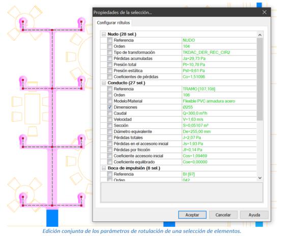 Edición conjunta de los parámetros de rotulación de una selección de elementos.