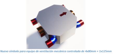 Nuevo símbolo para equipo de ventilación mecánica controlada de 4x80mm + 1x125mm